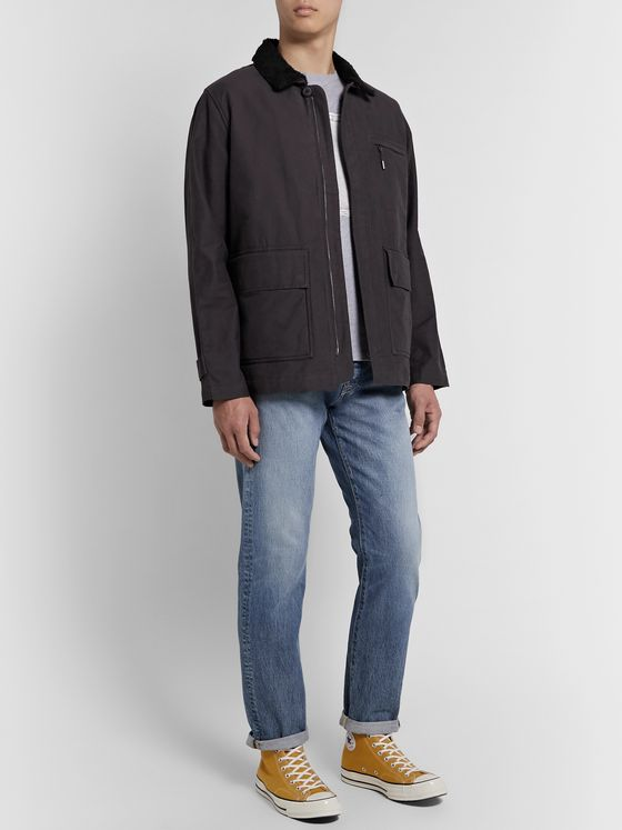 Folk Alber Fleece-Trimmed Cotton-Canvas Jacket