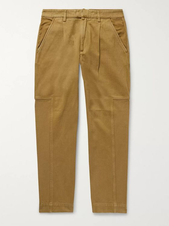 Folk Fraction Pleated Panelled Cotton-Twill and Faille Trousers