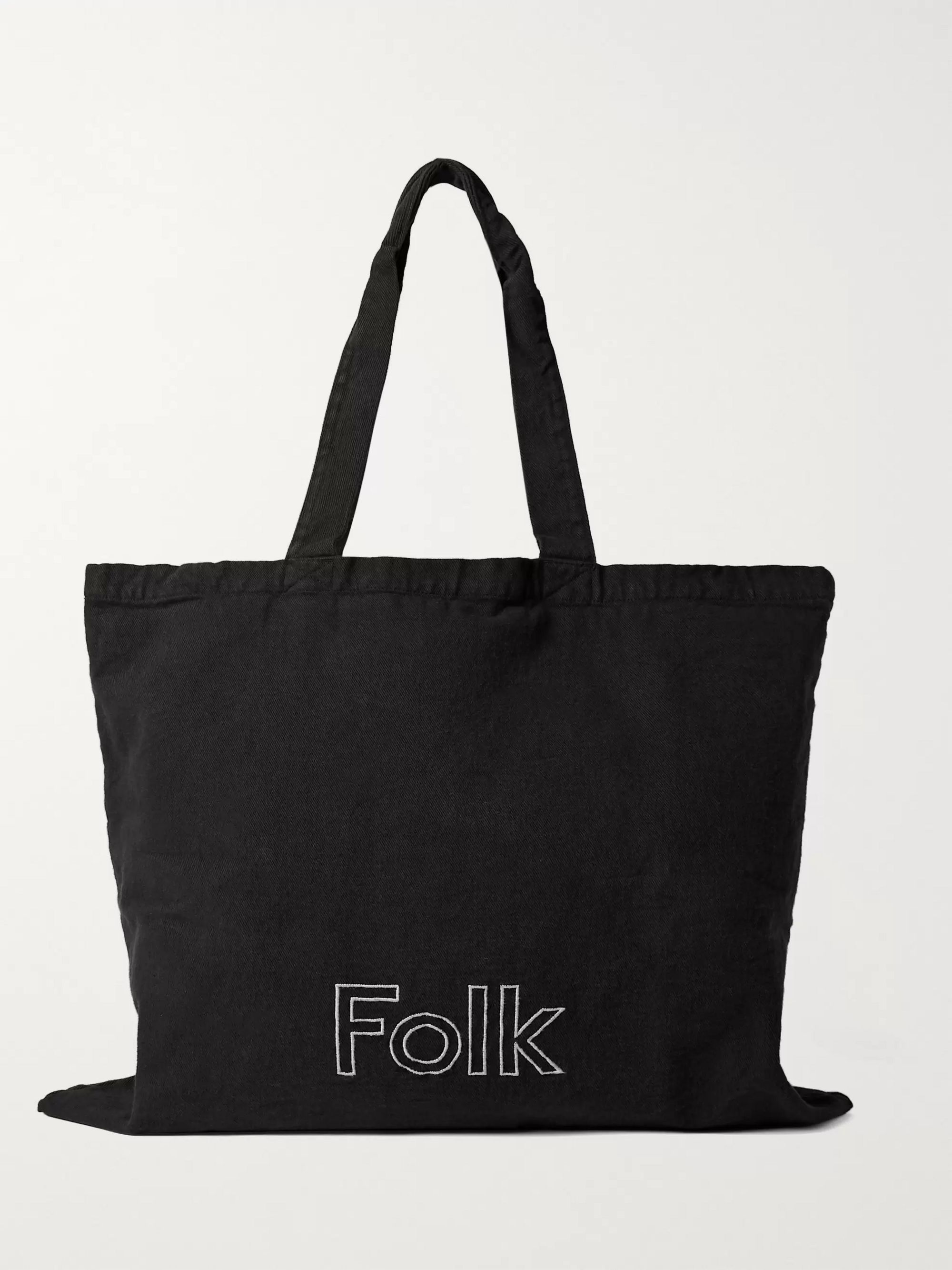 Folk Logo-Embroidered Garment-Dyed Cotton-Twill Tote Bag