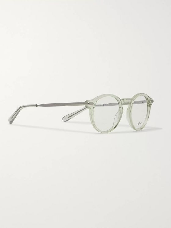 Brioni Round-Frame Acetate and Silver-Tone Optical Glasses
