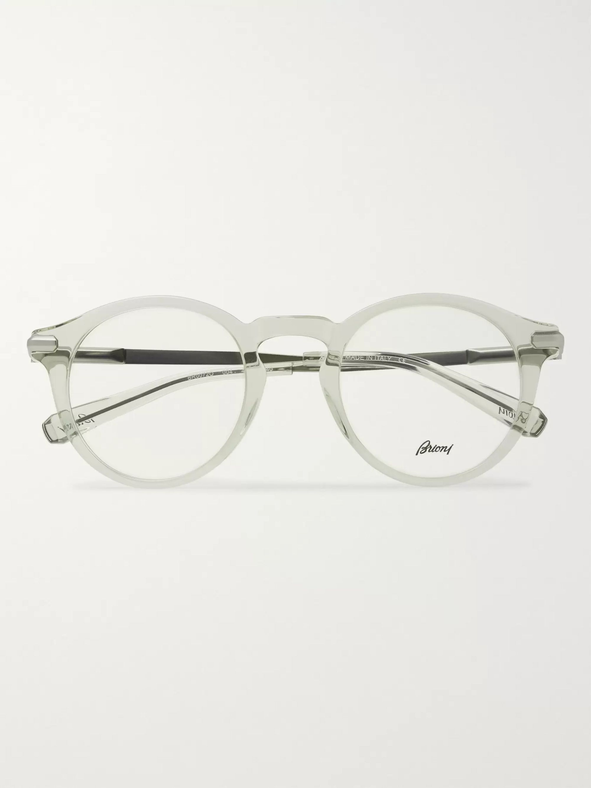 Round Frame Acetate And Silver Tone Optical Glasses by Brioni
