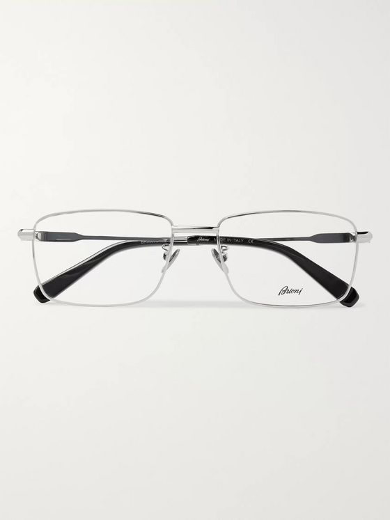 Brioni Rectangle-Frame Silver-Tone and Acetate Optical Glasses