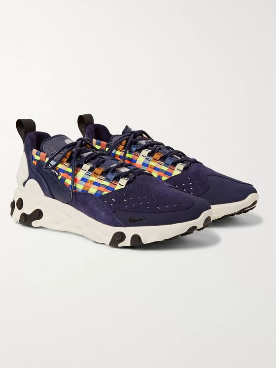 Nike React Sertu Leather, Suede and Grosgrain Sneakers