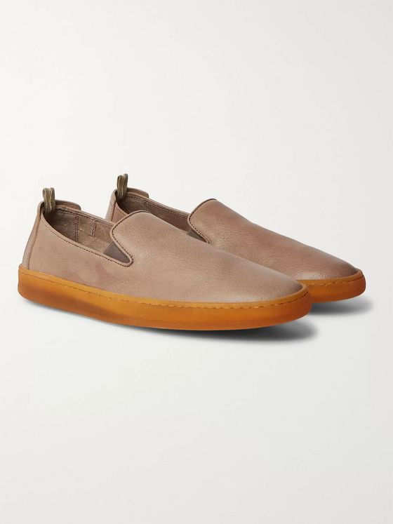 Officine Creative Key Full-Grain Leather Slip-On Sneakers