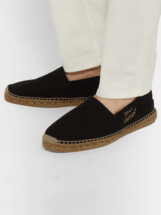 SAINT LAURENT Leather-Trimmed Logo-Embroidered Canvas Espadrilles
