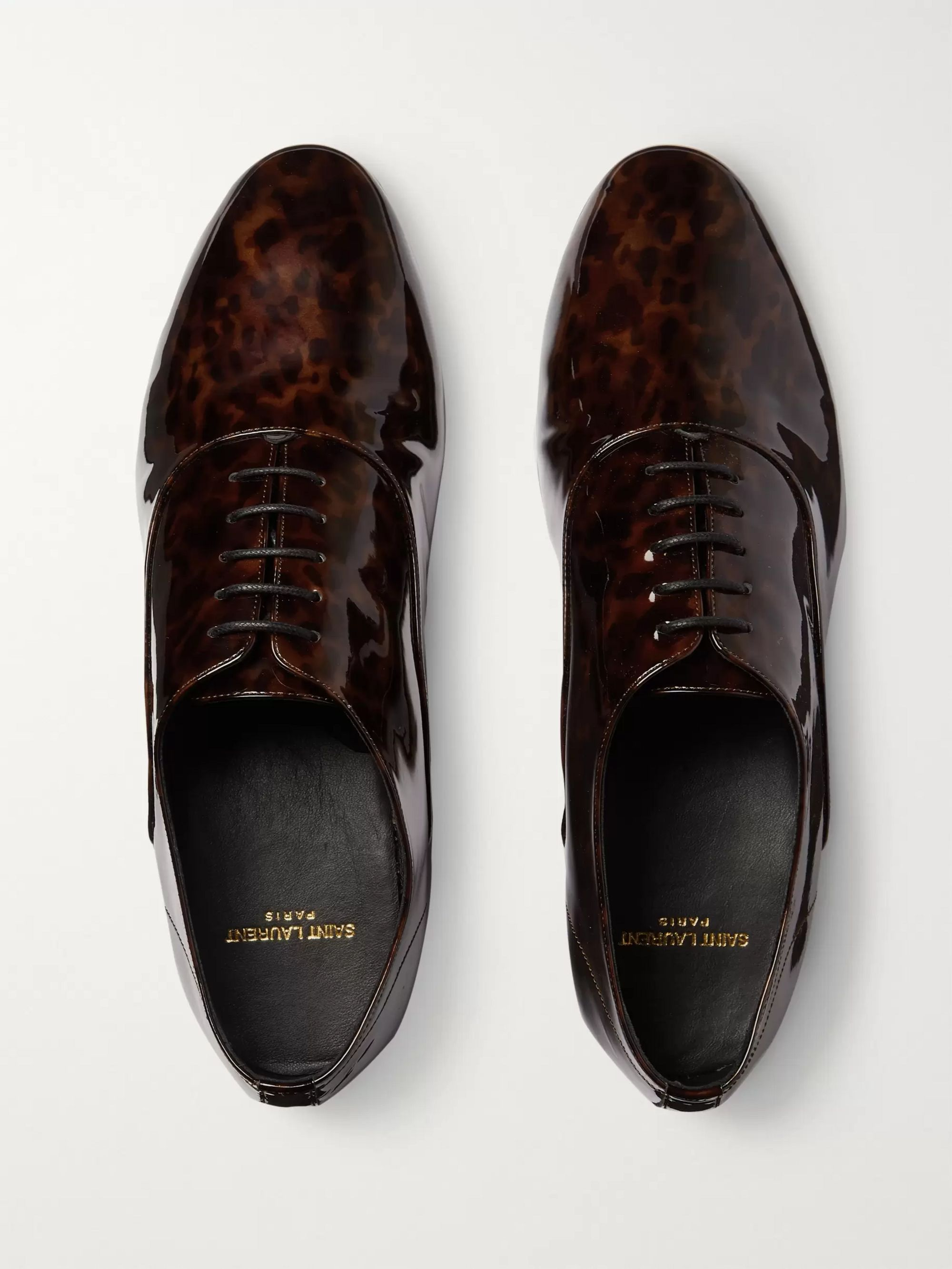 SAINT LAURENT Leon Tortoiseshell-Effect Patent-Leather Derby Shoes