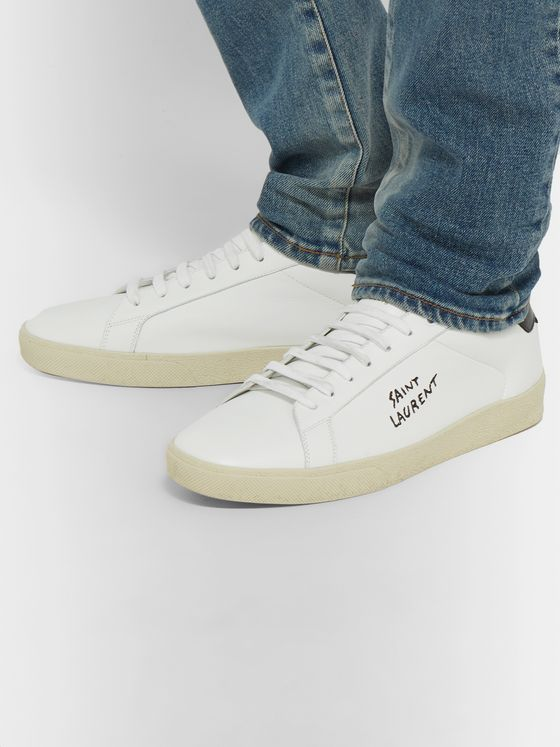 SL06 Court Classic Logo Embroidered Leather Sneakers