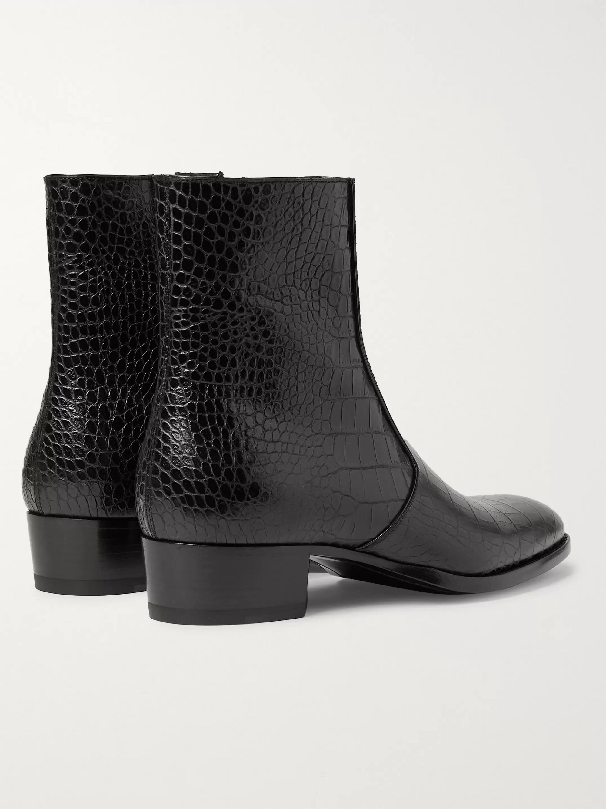 SAINT LAURENT Wyatt Croc-Effect Leather Boots