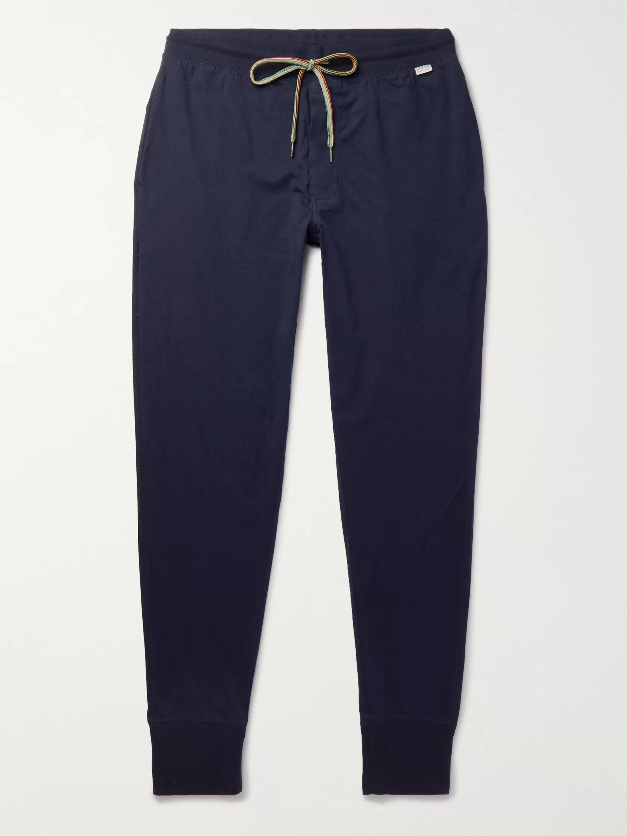 폴 스미스 Paul Smith Shoes & Accessories Navy Slim-Fit Tapered Cotton-Jersey Drawstring Sweatpants,Navy