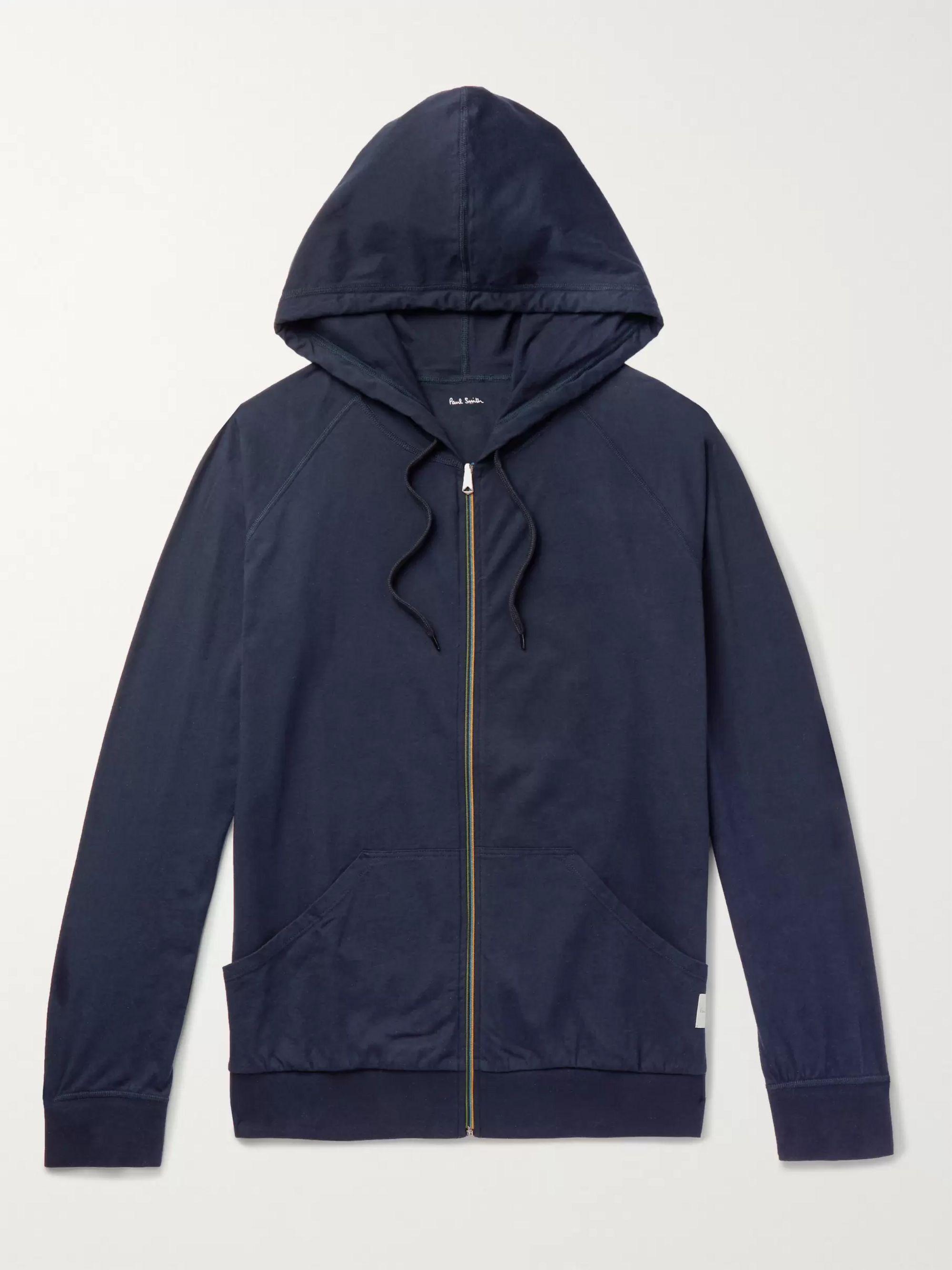 폴 스미스 Paul Smith Shoes & Accessories Navy Slim-Fit Cotton-Jersey Zip-Up Hoodie,Navy