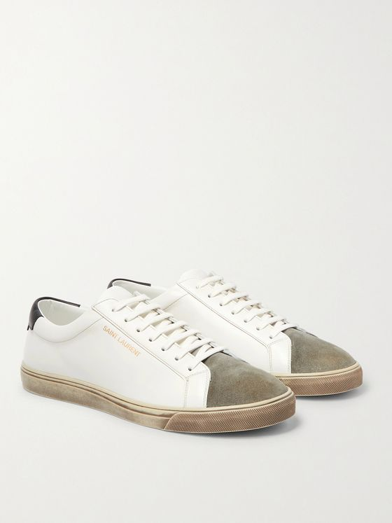 SAINT LAURENT Andy Distressed Suede-Trimmed Leather Sneakers