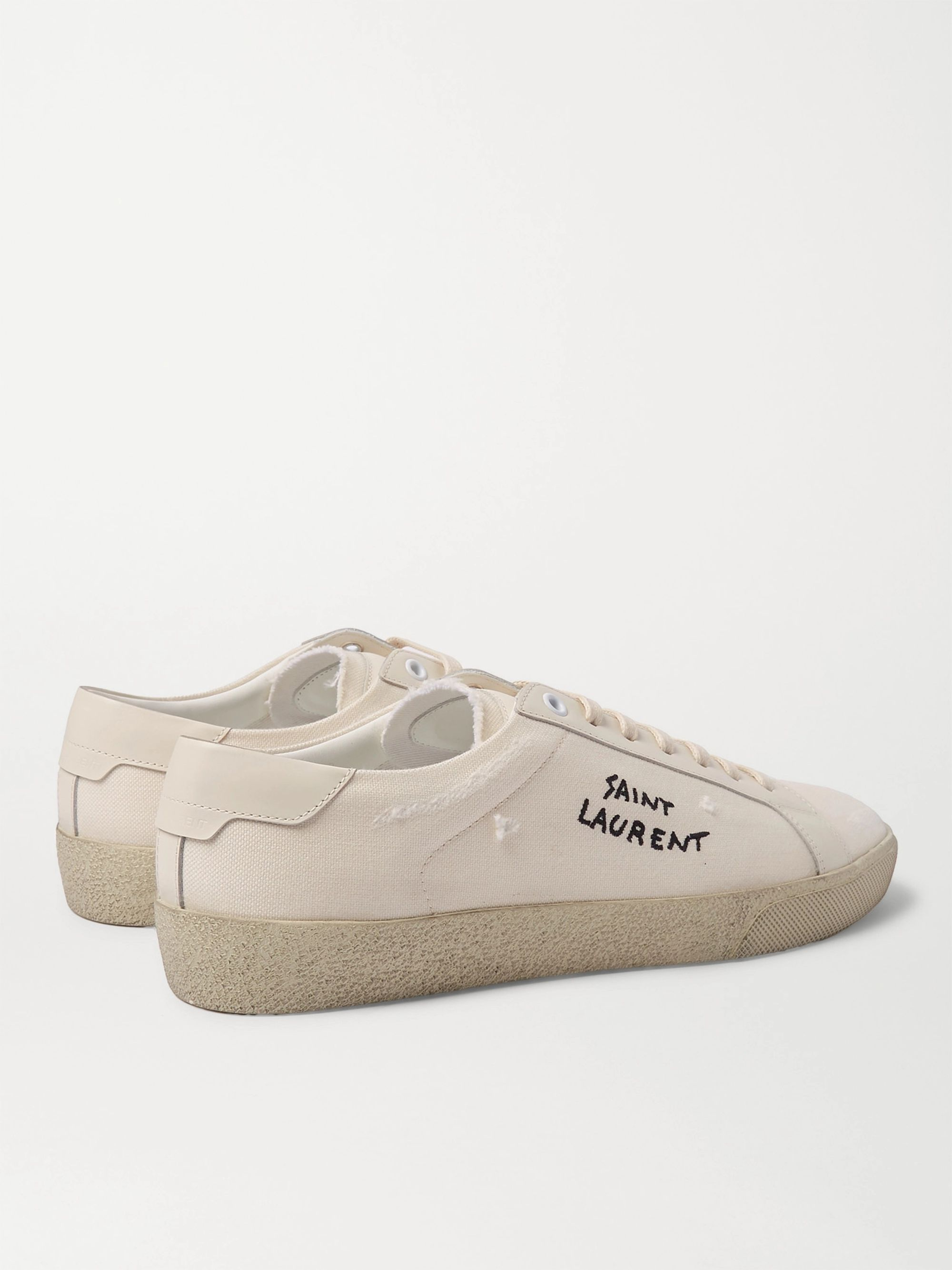SAINT LAURENT SL/06 Court Classic Logo-Embroidered Leather Sneakers