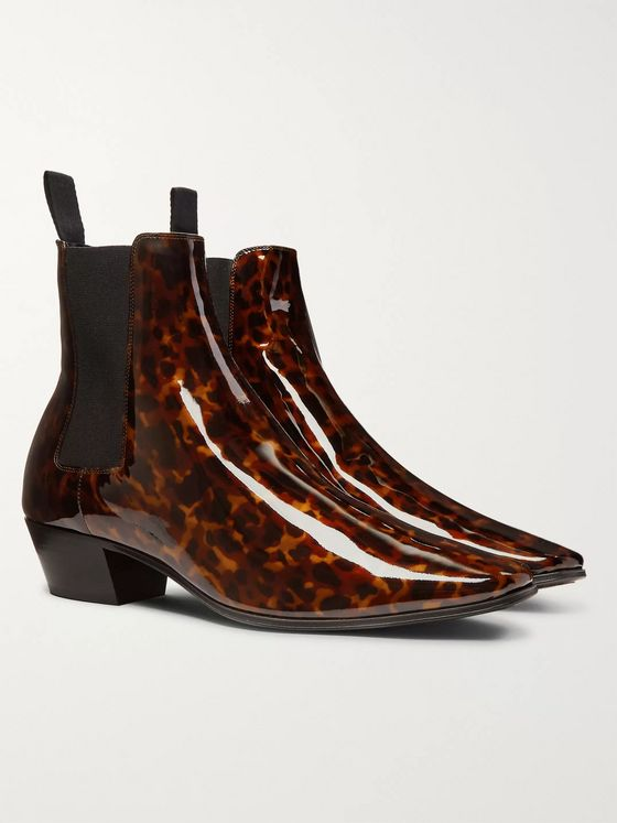 SAINT LAURENT Dylan Tortoiseshell-Effect Patent-Leather Chelsea Boots