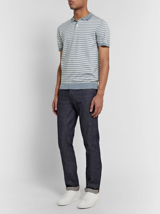 Handvaerk Striped Pima Cotton Polo Shirt