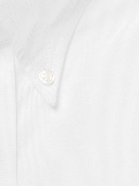 DRAKE'S White Button-Down Collar Cotton Oxford Shirt
