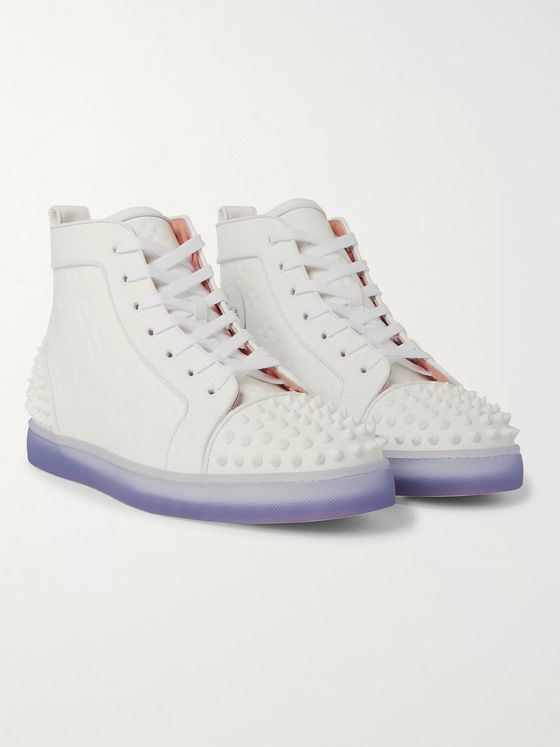 Christian Louboutin Lou Spikes 2 Embossed Leather High-Top Sneakers