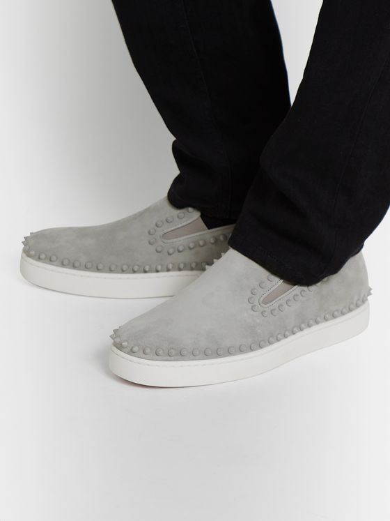 Christian Louboutin Pik Boat Studded Suede Slip-On Sneakers