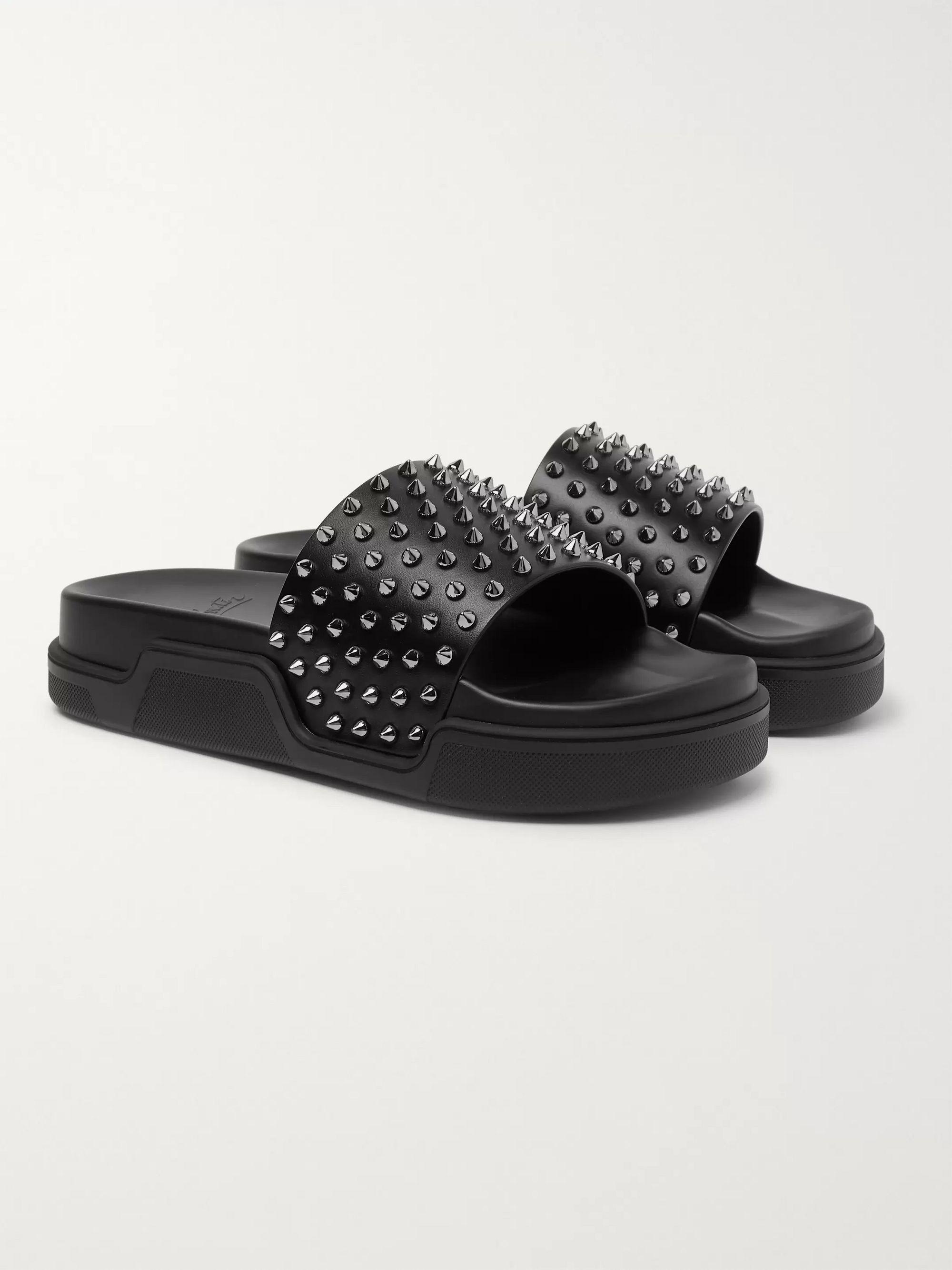 Black Pool Fun Studded Leather Slides