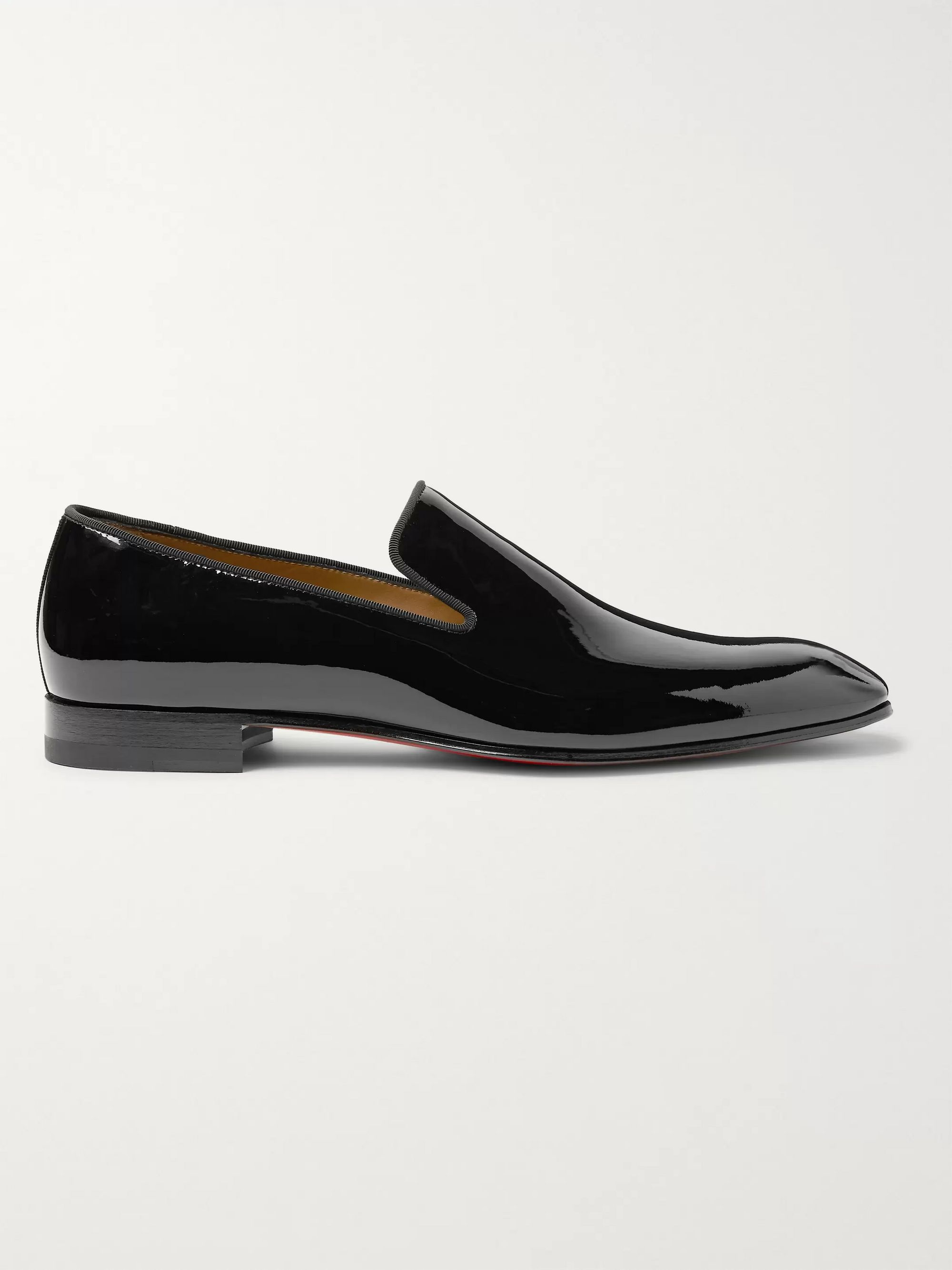 Christian Louboutin Dandelion Grosgrain-Trimmed Patent-Leather Loafers