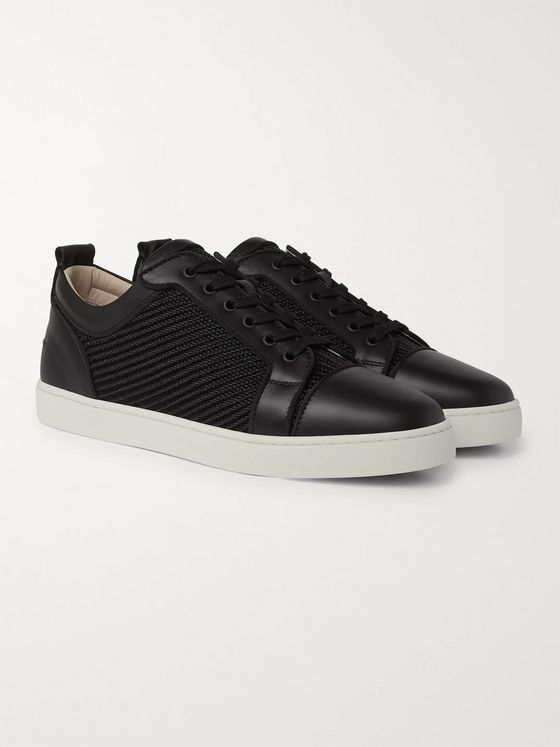 Christian Louboutin Louis Junior Orlato Leather and Jacquard Sneakers
