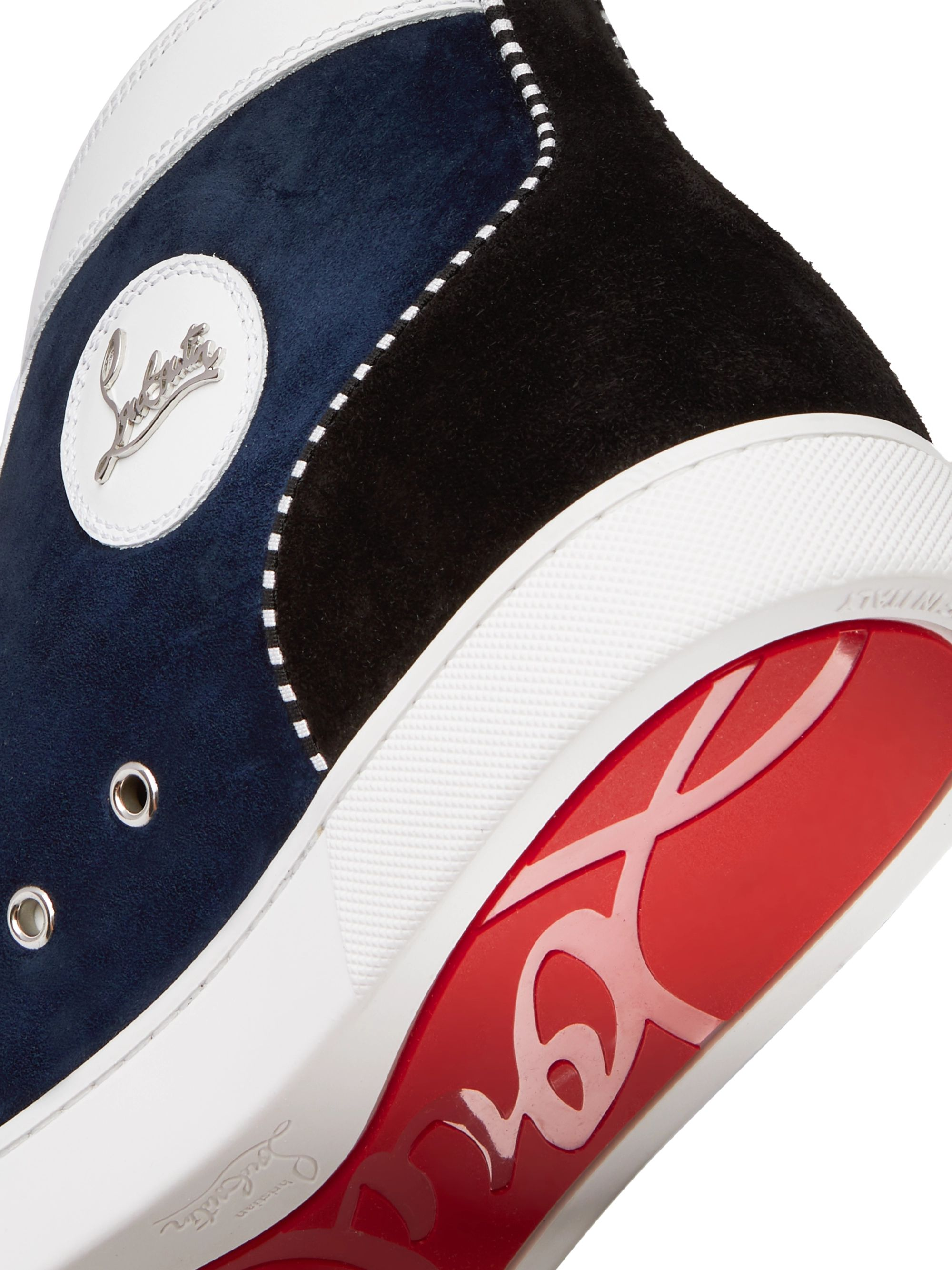 Christian Louboutin Louis Appliquéd Suede and Leather High-Top Sneakers