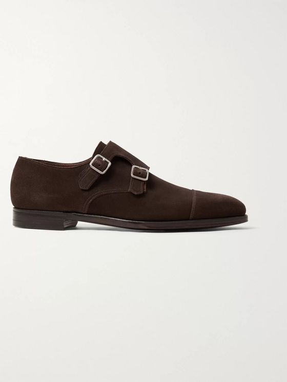 George Cleverley Thomas Cap-Toe Suede Monk-Strap Shoes