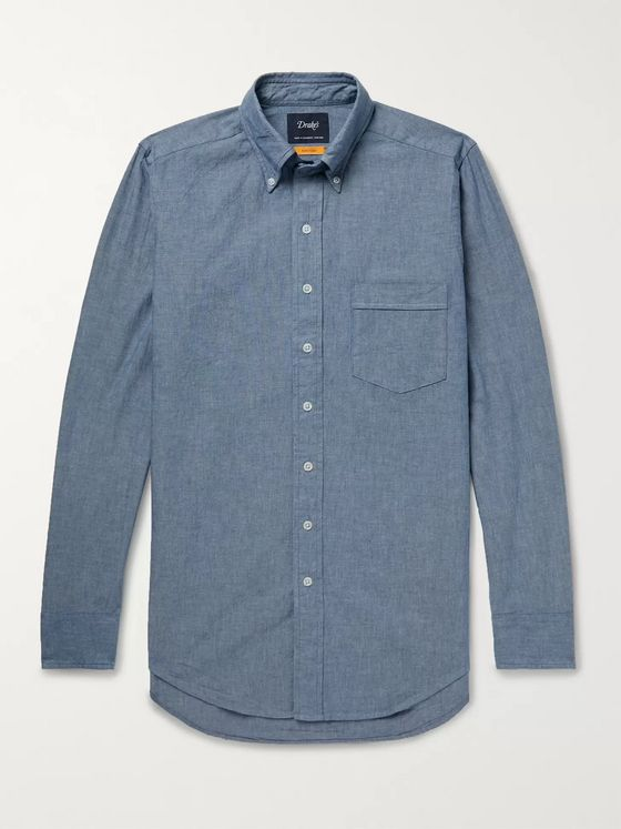 Drake's Button-Down Collar Cotton-Chambray Shirt
