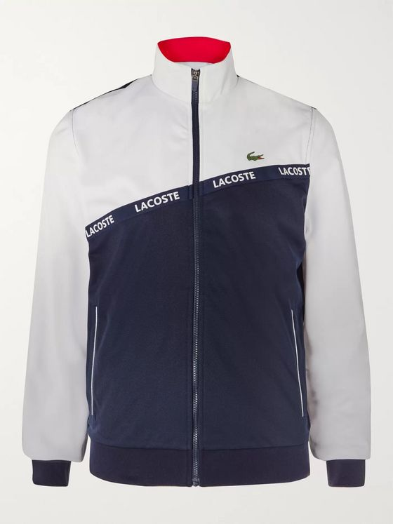Lacoste Tennis Logo-Trimmed Colour-Block Mesh Tennis Jacket