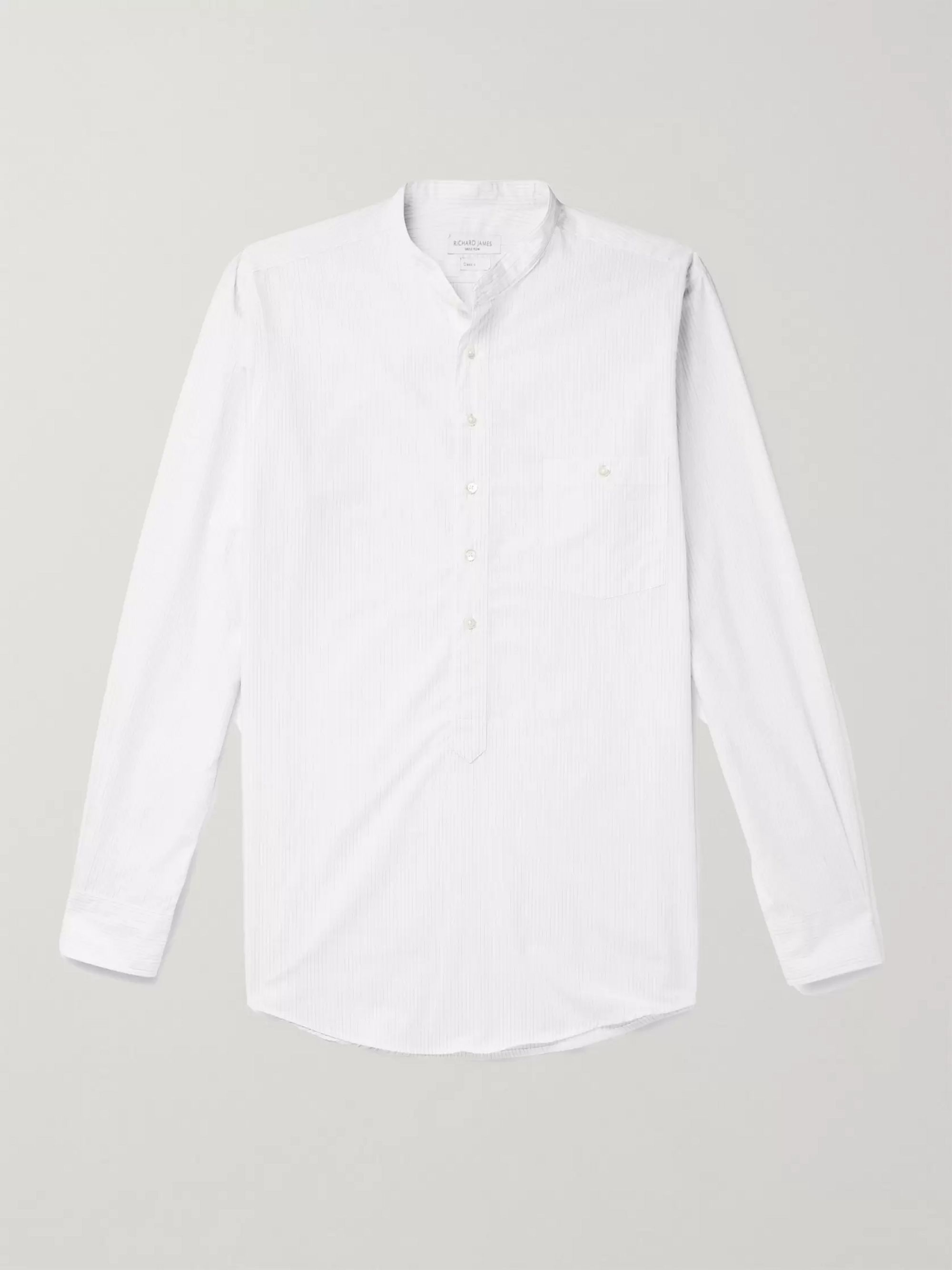 Richard James Grandad-Collar Striped Slub Cotton Half-Placket Shirt