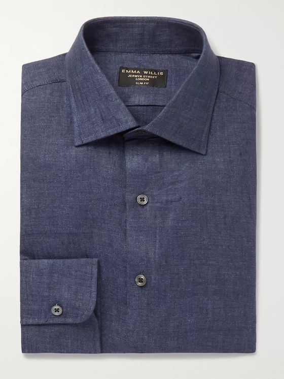 Emma Willis Slim-Fit Mélange Linen Shirt