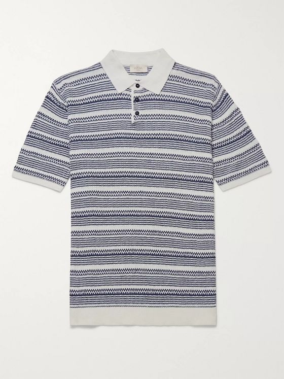 Altea Striped Linen and Cotton-Blend Polo Shirt
