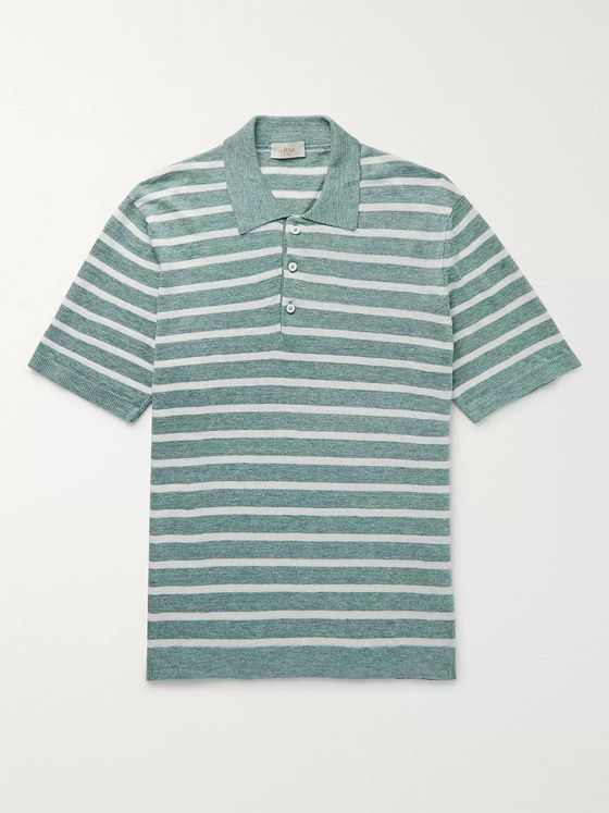 Altea Striped Linen Polo Shirt