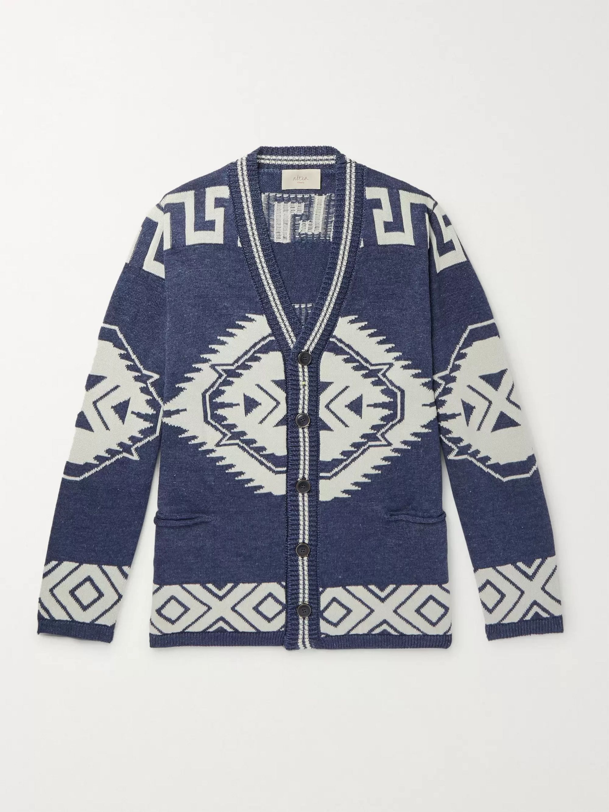 Altea Intarsia Linen and Cotton-Blend Cardigan