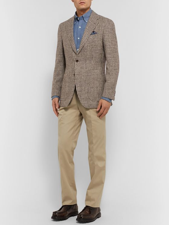 Beams F Brown Slim-Fit Prince of Wales Checked Wool Blazer