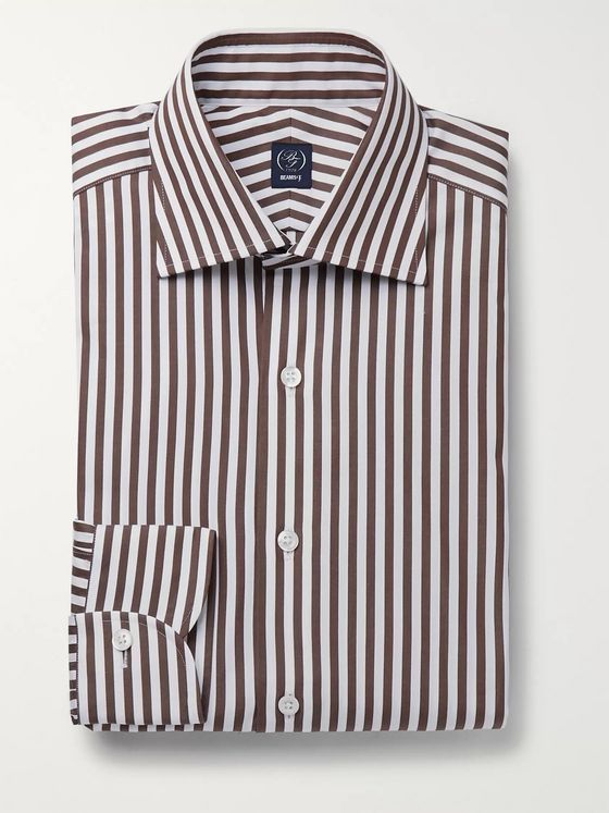 Beams F Brown Slim-Fit Striped Cotton-Poplin Shirt