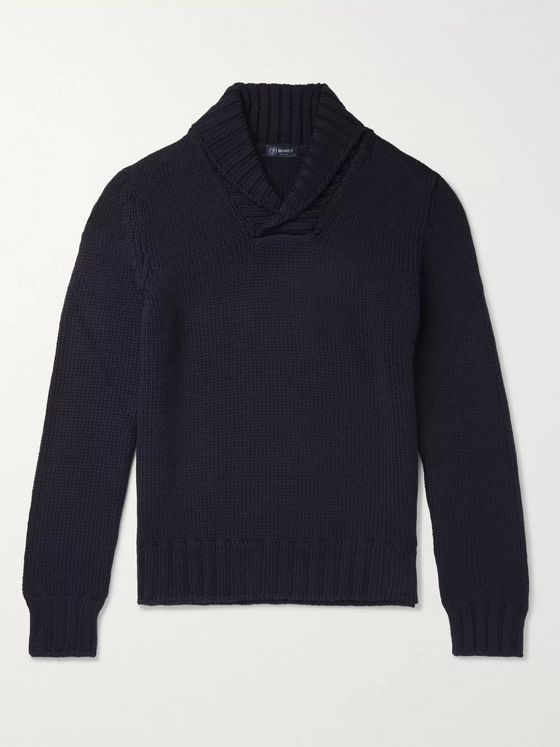 Beams F Shawl-Collar Virgin Wool Sweater