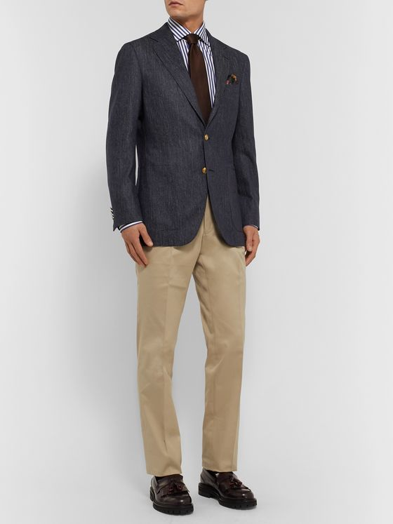 Beams F Navy Slim-Fit Trofeo Wool-Denim Blazer