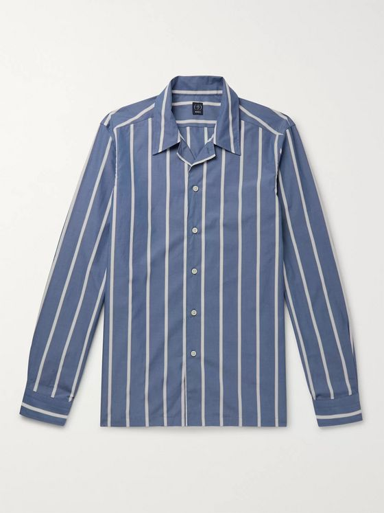 Beams F Camp-Collar Striped Cotton-Poplin Shirt