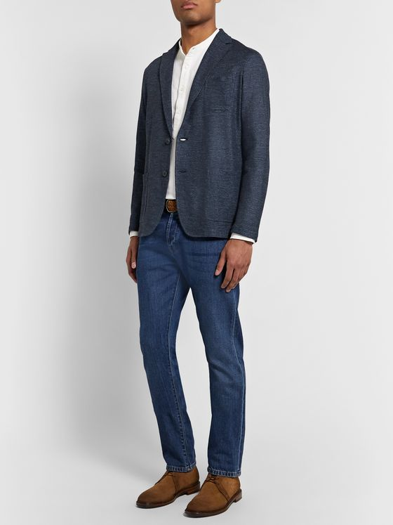 Altea Storm-Blue Alfonso Mélange Linen and Cotton-Blend Blazer