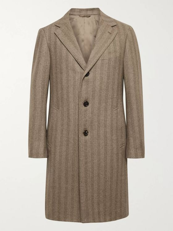 Beams F Herringbone Wool and Cashmere-Blend Overcoat