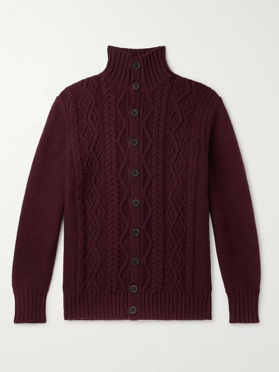 Anderson & Sheppard Cable-Knit Merino Wool Cardigan