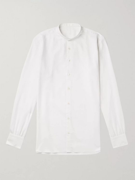 Anderson & Sheppard Grandad-Collar Cotton and Cashmere-Blend Twill Shirt