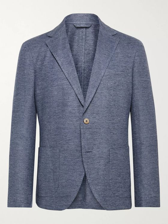 Altea Tito Slim-Fit Unstructured Herringbone Linen and Cotton-Blend Blazer