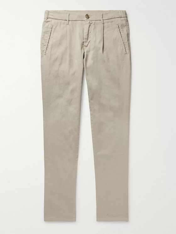 Altea Bowery Tapered Pleated Linen-Blend Trousers