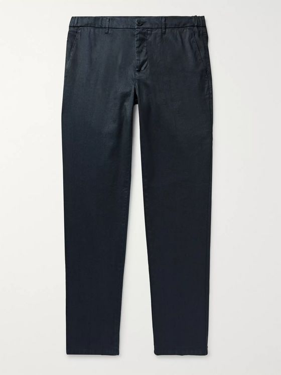 Altea Navy Dumbo Slim-Fit Linen-Blend Twill Trousers