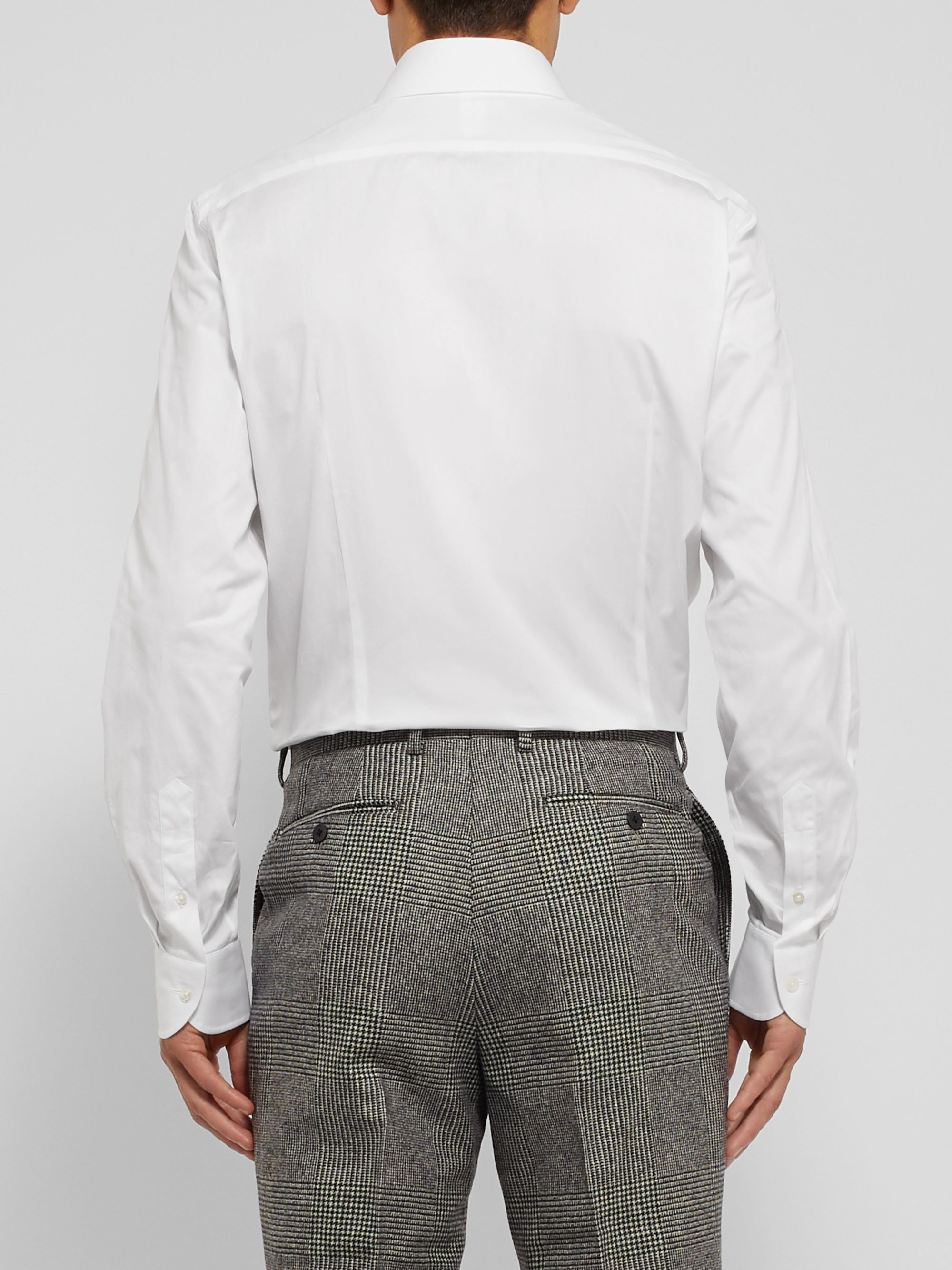 Beams F White Slim-Fit Cotton Oxford Shirt