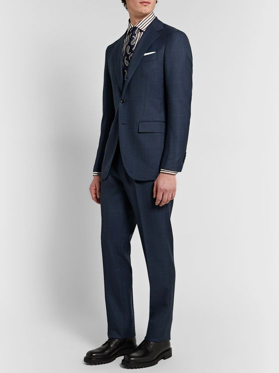 Beams F Slim-Fit Pleated Prince of Wales Checked Wool Suit Trousers