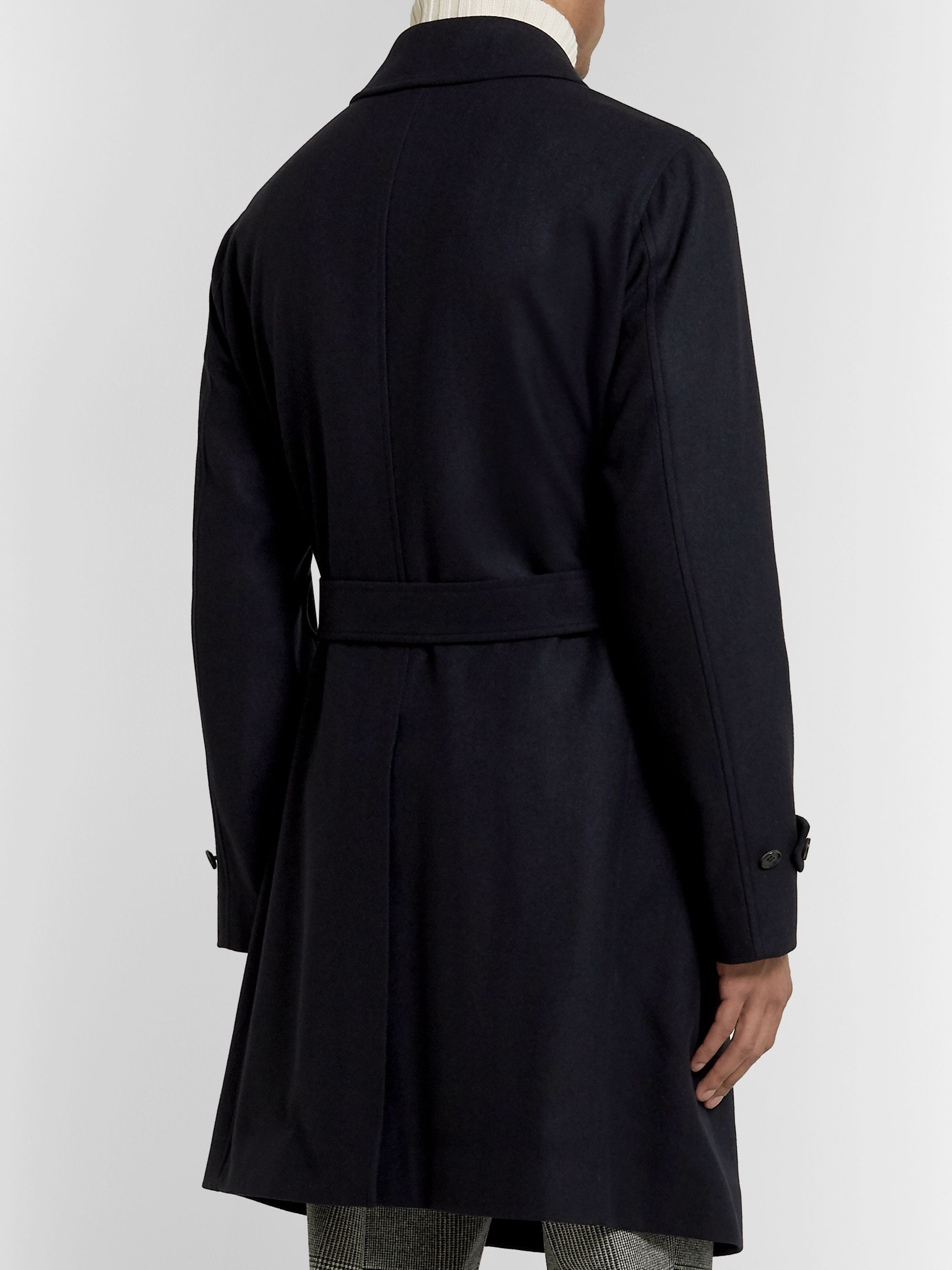 Beams F Double-Breasted Wool and Cashmere-Blend Trench Coat