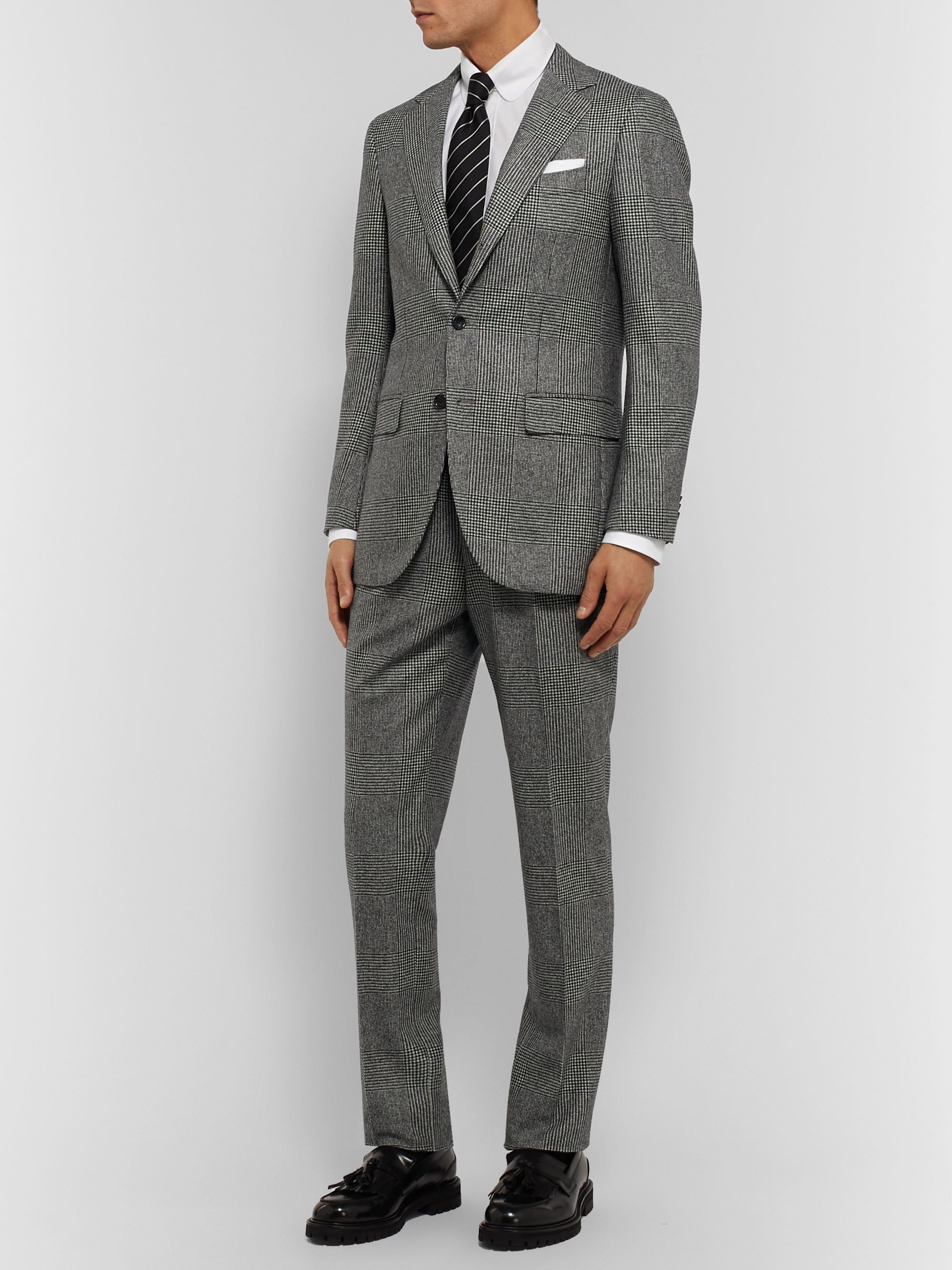 Beams F Black Slim-Fit Prince of Wales Checked Super 100s Wool Suit Trousers
