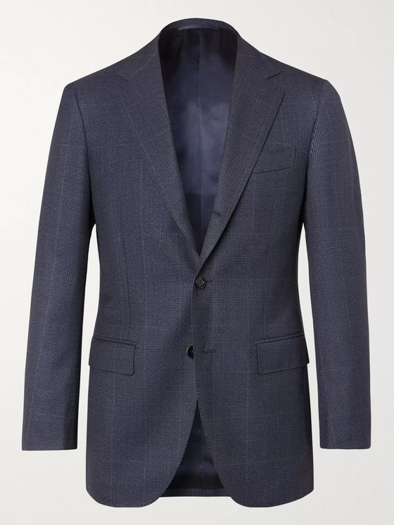 Beams F Navy Prince of Wales Checked Wool Suit Jacket